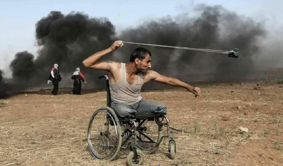 الشهيد الفلسطيني فادي أبو صلاح حارب مبتور القدمين