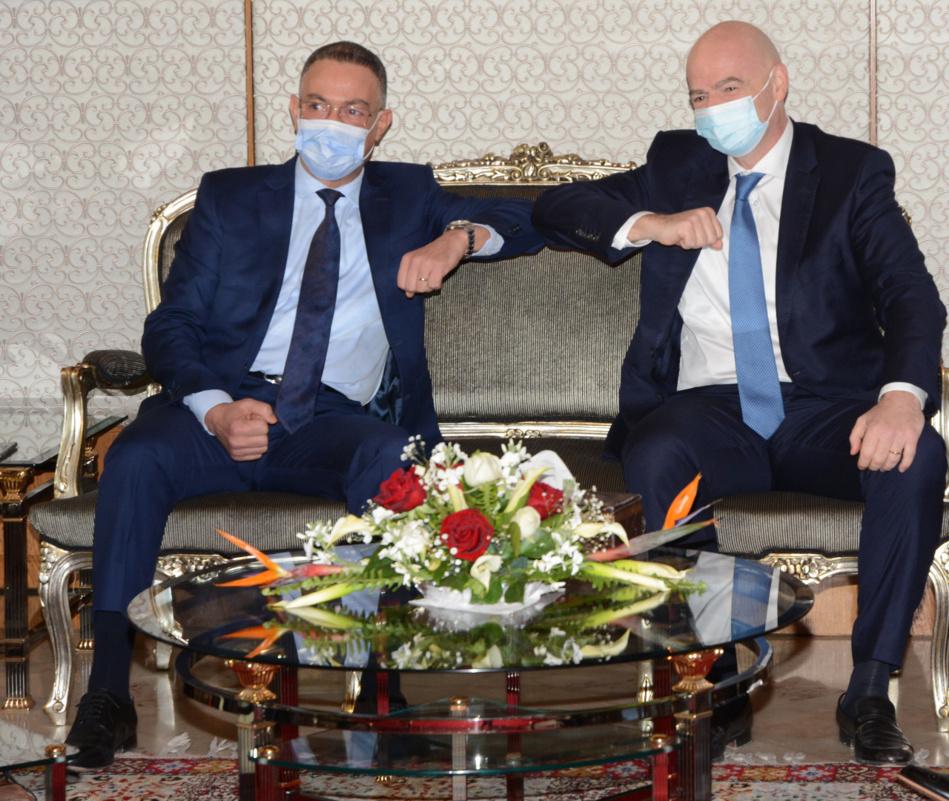بوريطة ولقجع يستقبلان رئيس الفيفا في زيارة رسمية له بالمغرب