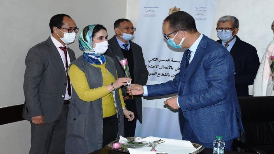 حفل تكريم نساء مؤسسة الحسن الثاني للنهوض بالأعمال الاجتماعية لفائدة العاملين بالقطاع العمومي للصحة بمناسبة 8 مارس 2021