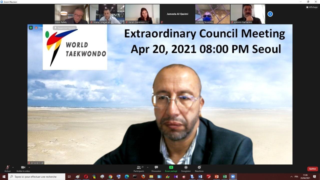 الهلالي يشارك ضمن اجتماع  المجلس الاستثنائي للاتحاد الدولي للتايكوندو