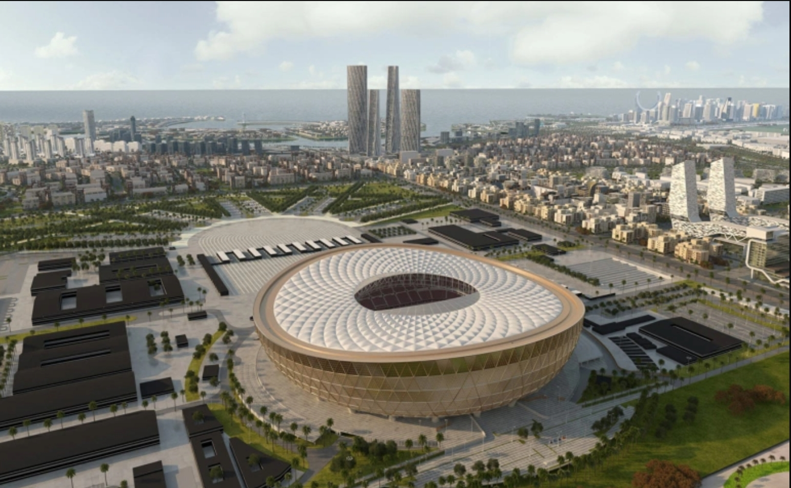 شاهد وضع آخر قطعة معدنية بالملعب الخرافي الذي سيحتضن نهائي مونديال قطر 2022