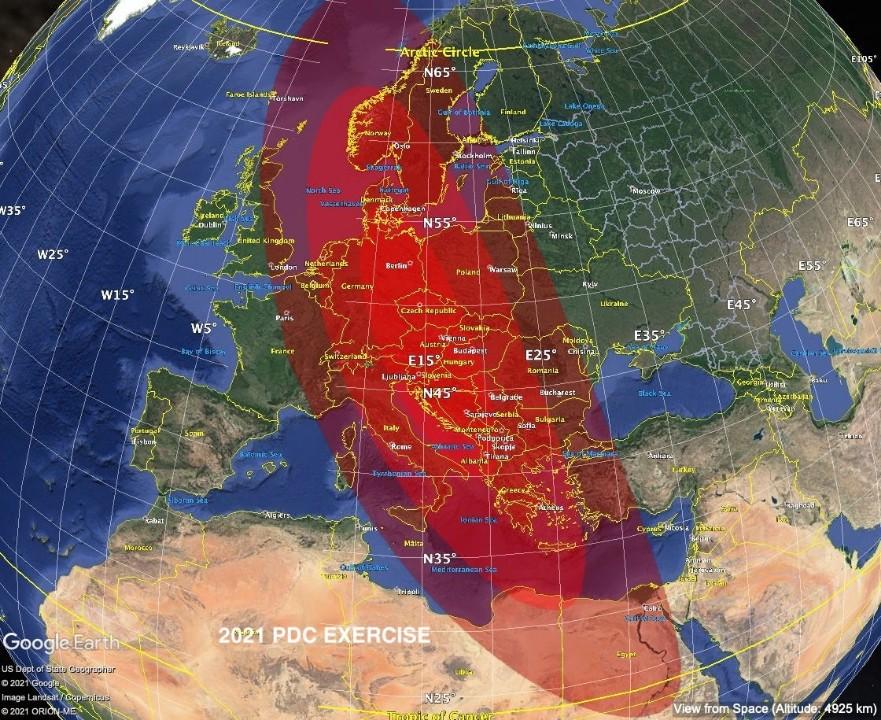 المنطقة الأكثر تضررا في المحاكاة (ناسا)