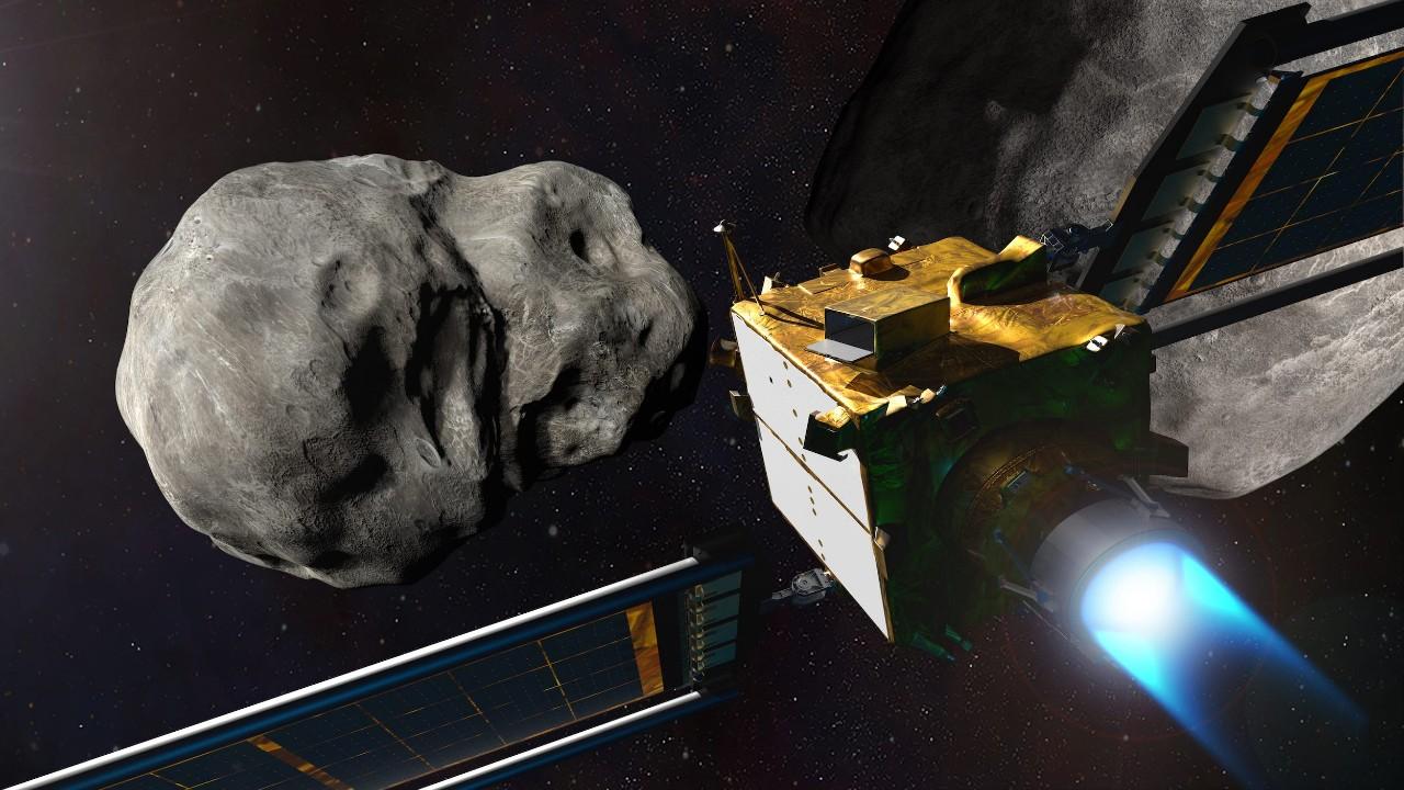رسم توضيحي لمركبة فضائية بالقرب من الكويكب (ناسا)