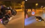 مراهقون يخترقون حاجزا أمنيا بدراجاتهم النارية+فيديو