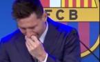 بالدموع ميسي يودع فريق برشلونة